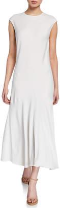 Frame Cascade Keyhole Cap-Sleeve Dress