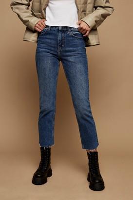 Topshop CONSIDERED Mid Blue Raw Hem Organic Cotton Straight Jeans