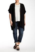 Bobeau Crochet Trimmed Gauze Kimono (Plus Size)