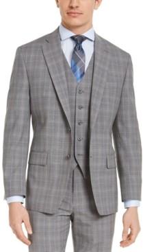 Michael Kors Men's Classic-Fit Airsoft Stretch Gray Plaid Suit Jacket