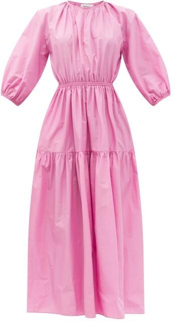 Matteau The Tiered Crew Organic-cotton Maxi Dress - Pink