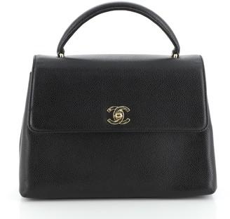 Chanel Vintage Classic Top Handle Flap Bag Caviar Medium