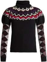 Loewe Roll-neck argyle-intarsia wool-blend knit sweater