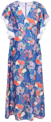 Tory Burch Frayed Ruffled Floral-print Fil Coupe Woven Midi Dress