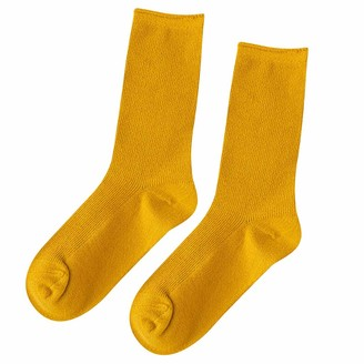 Musheng Long Socks Knee Stockings Breathable Solid Color Cotton Socks for Women Autumn Breathable Fashionable Dress Style (Brown)