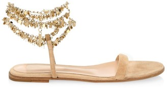 Gianvito Rossi Beaded Suede Flat Sandals