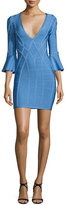 Herve Leger 3/4 Flutter-Sleeve Bandage Dress, French Blue