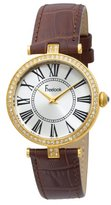 Freelook Women's HA1025G-2 Vendome Yellow Gold Plated Stainless Steel Case White Dial Brown Band Watch