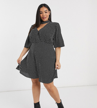 ASOS DESIGN Curve high neck mini dress with flutter sleeve in mono spot