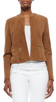 Neiman Marcus Perforated Suede Jacket