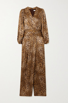 Jonathan Simkhai Carter Wrap-effect Leopard-print Silk-blend Charmeuse Jumpsuit - Camel