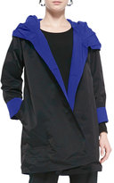 Eileen Fisher Reversible Hooded Rain Coat, Black/Adriatic