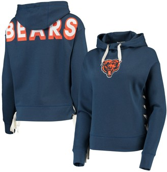 Women's Junk Food Navy Chicago Bears Lace-Up Side Pullover Hoodie