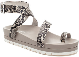 J/Slides Women's Sandals BEIGE/BLK - Beige Snake-Embossed Lanzy Leather Toe-Loop Platform Sandal - Women
