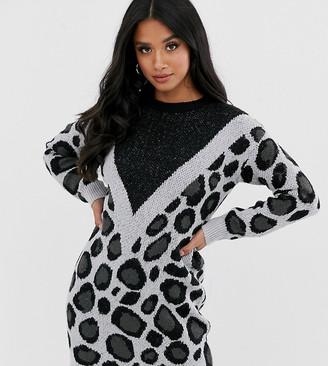 Brave Soul Petite simba chevron animal print jumper dress