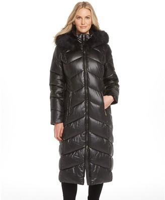 Gallery Women's Faux-Fur Hood Long Puffer Jacket