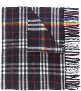 Classic Cashmere Scarf With Vintage Rainbow Check