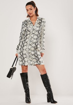 Missguided Tall Grey Snake Print Shirt Dress