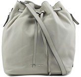 Vince Camuto Gabe Drawstring Bag Women Leather Gray Hobo.