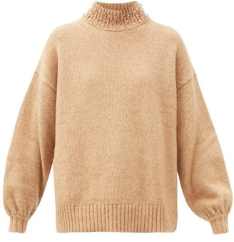 See by Chloe Beaded High-neck Wool-blend Sweater - Beige