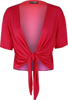 Fashion Star Women Cardigan Knot Tie Bolero Shrug Crop Top Royal Blue Plus Size (UK 20/22)