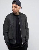 Asos Textured Bomber Jacket In Black