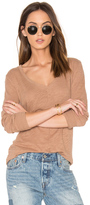 Bobi Cotton Slub V Neck Long Sleeve Tee