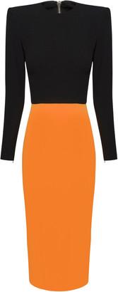 Alex Perry Darley Two-Tone Crepe Midi Dress