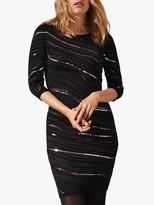 Phase Eight Saya Wave Sequin Dress, Gunmetal