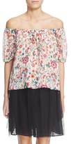 RED Valentino Women's Floral Print Off The Shoulder Silk Top