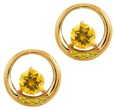 Gem Stone King 0.94 Ct Round Yellow Citrine and Canary Diamond 18k Yellow Gold Earrings