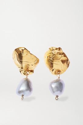 Alighieri Solitary Tear At Dusk Gold-plated Pearl Earrings