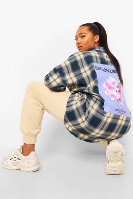 boohoo Plus Oversized Back Print Check Shirt
