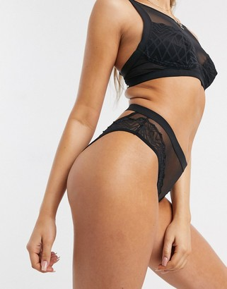 Cosabella Kiera mesh open back brief in black