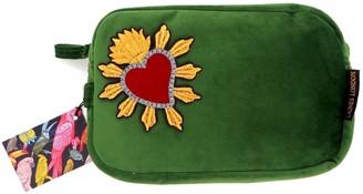 Laines London Green Velvet Bag With Red Heart Brooch