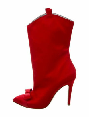 Alessandra Rich Bow Accents Boots Red