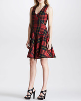 McQ by Alexander McQueen Bias-Zip Fit-and-Flare Plaid Dress