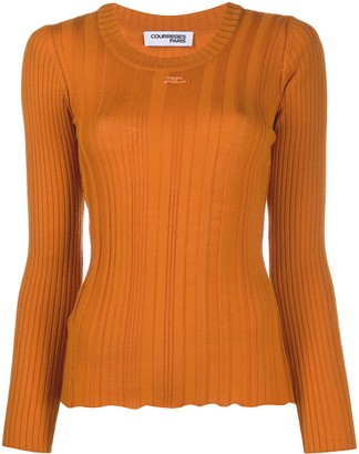 Courreges Long Sleeved Ribbed Logo Top