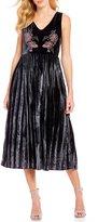 J.o.a. Embroidered Velvet Pleated A-Line Dress