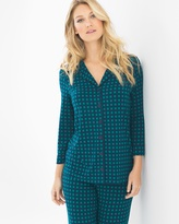 Soma Intimates 3/4-Sleeve Notch Collar Pajama Top Arbor Plaid Green Envy