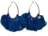 Missoni Long Wool And Lurex-tasseled Hoop Earrings - Womens - Blue