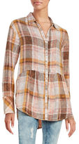 Free People Peplum Flannel Button-Down Top