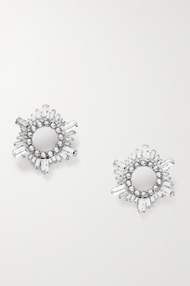 Amina Muaddi Begum Mini Silver-tone Crystal Earrings