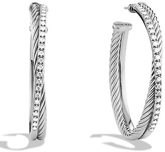 David Yurman Crossover Extra-Large Hoop Earrings with Diamonds