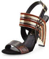 Salvatore Ferragamo Python & Mixed Leather Geometric Sandal