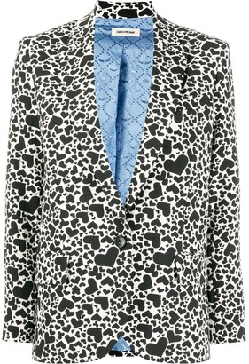 Zadig & Voltaire Heart print single breasted blazer
