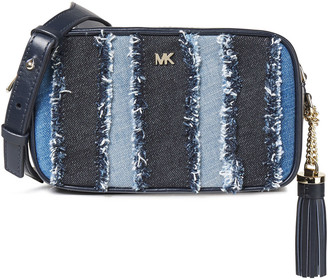 MICHAEL Michael Kors Frayed Paneled Denim And Leather Shoulder Bag