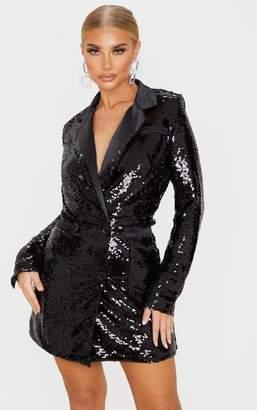 PrettyLittleThing Black Sequin Blazer Dress