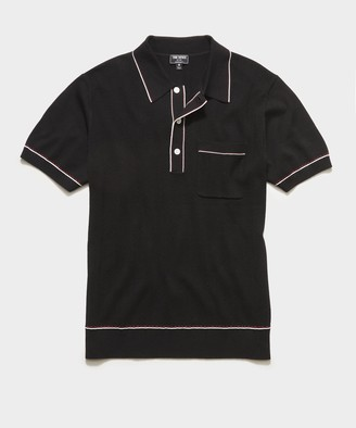 Todd Snyder Italian Cotton Silk Tipped Ribbed Polo Sweater in Black