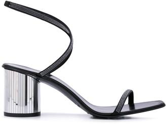 Pedro Garcia Rhinestone Strappy Metallic Heel Sandals